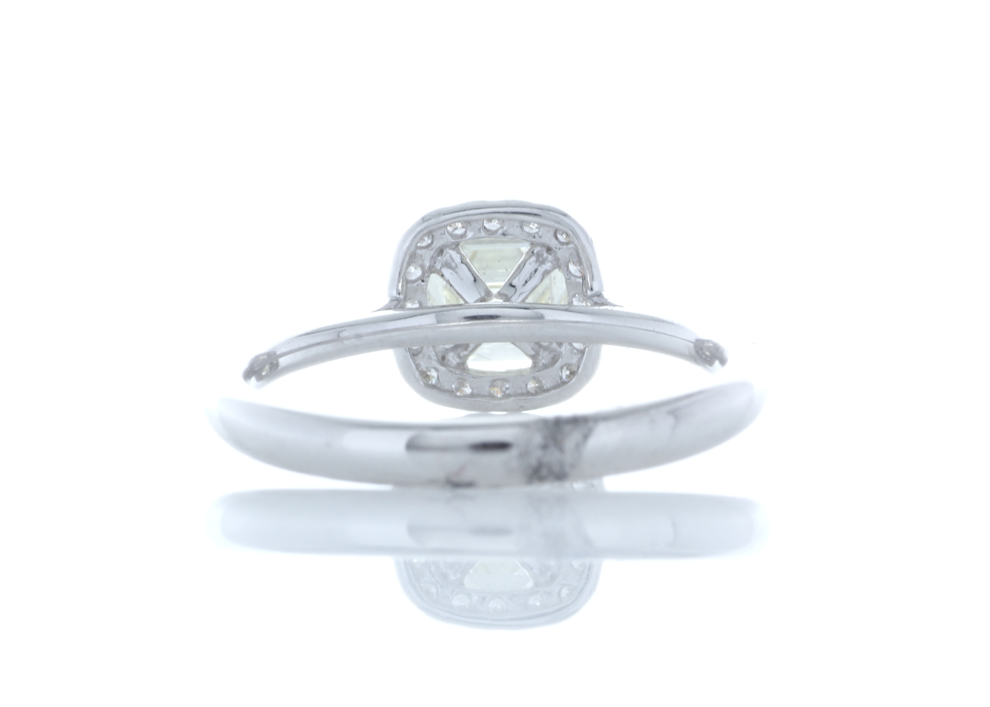Lot 27 - 18ct White Gold Single Stone With Halo Setting Ring (1.01) 1.27 Carats