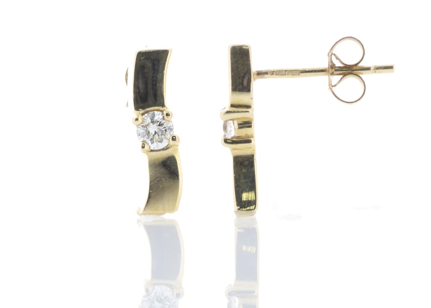 Lot 40 - 9ct Yellow Gold Wave Diamond Set Earrings 0.20 Carats