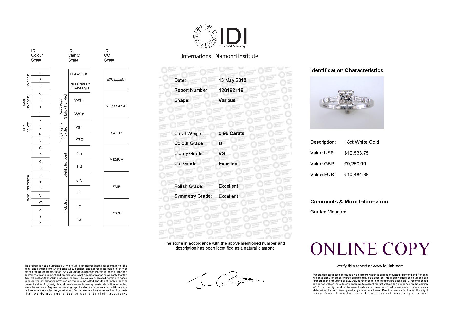 Lot 29 - 18ct White Gold Single Stone Princess Cut Diamond Ring With Set Shoulders (0.72) 0.96 Carats