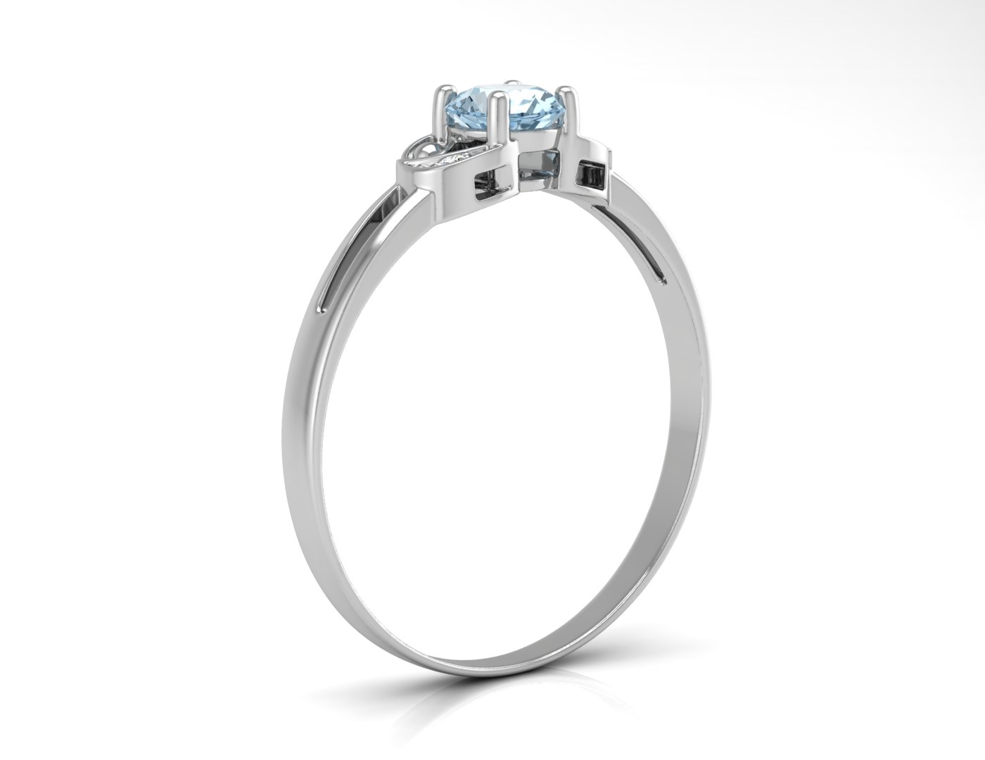 Lot 49 - 9ct White Gold Fancy Cluster Diamond And Blue Topaz Ring 0.01 Carats