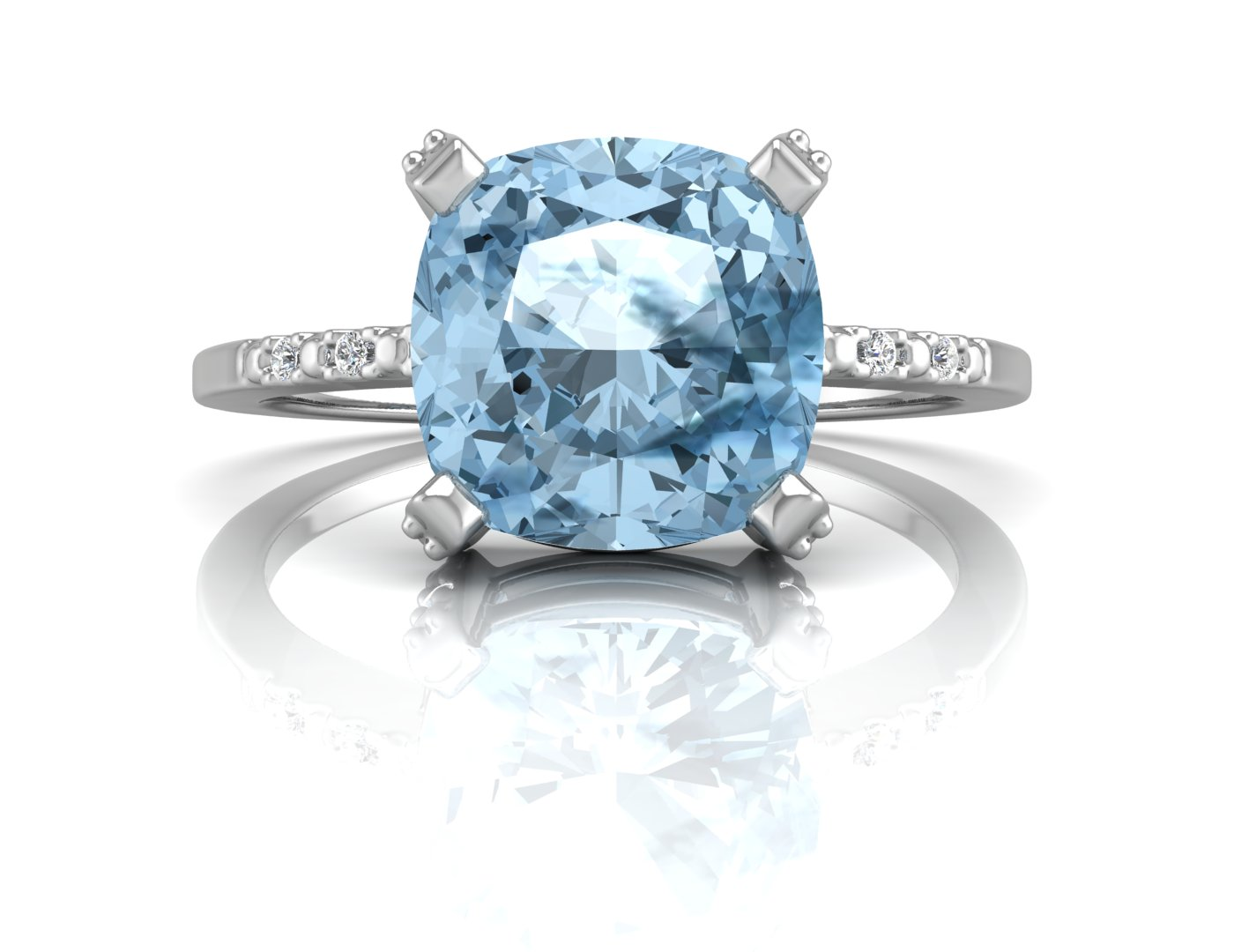 Lot 48 - 9ct White Gold Diamond And Blue Topaz Ring 0.04 Carats