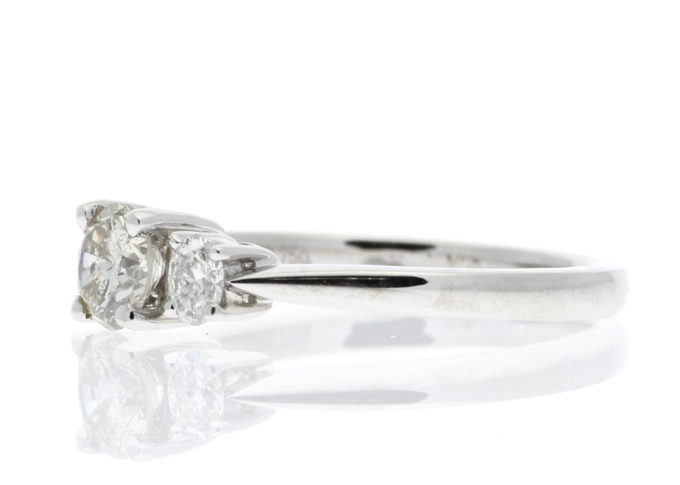Lot 30 - 18ct White Gold Three Stone Claw Set Diamond Ring 0.73 Carats