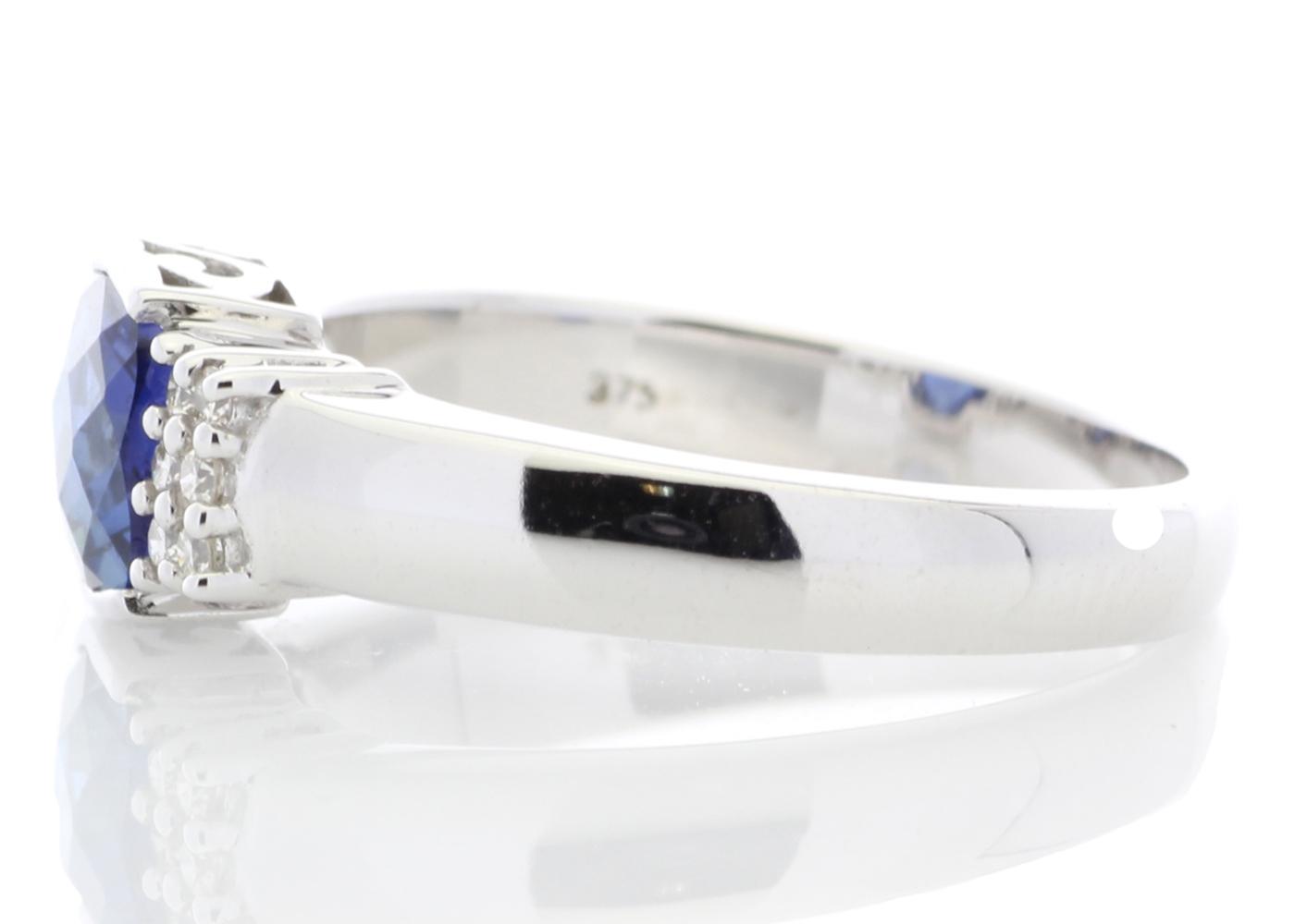Lot 53 - 9ct White Gold Created Ceylon Sapphire Diamond Ring 0.08 Carats