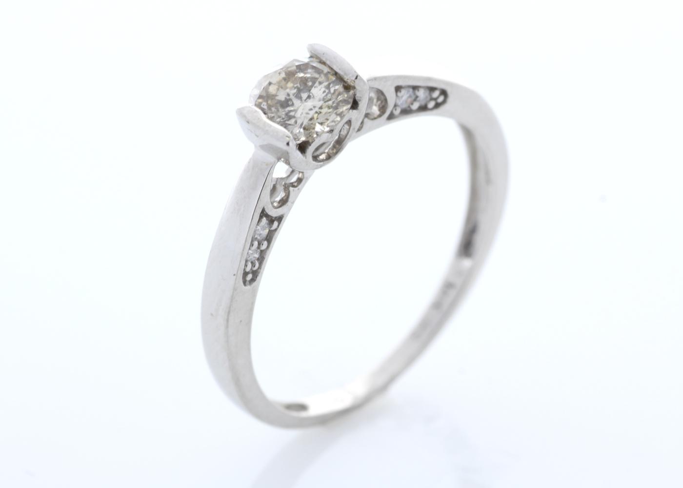 Lot 21 - 18ct White Gold Single Stone Prong Set With Stone Set Shoulders Diamond Ring 0.60 Carats