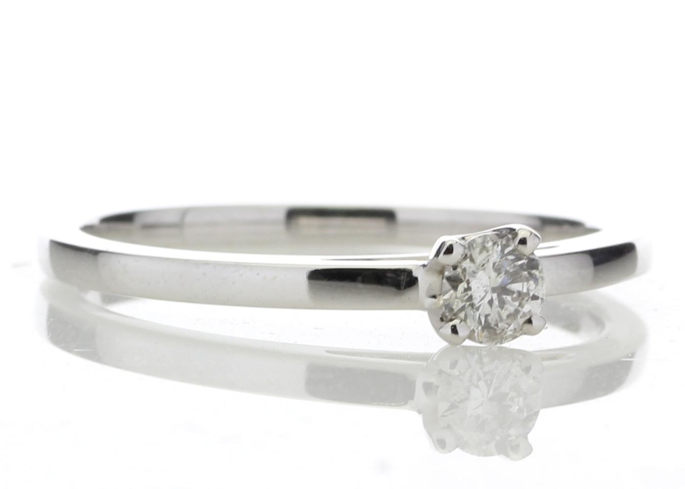 Lot 9 - 18ct White Gold Single Stone Wire Set Diamond Ring 0.20 Carats