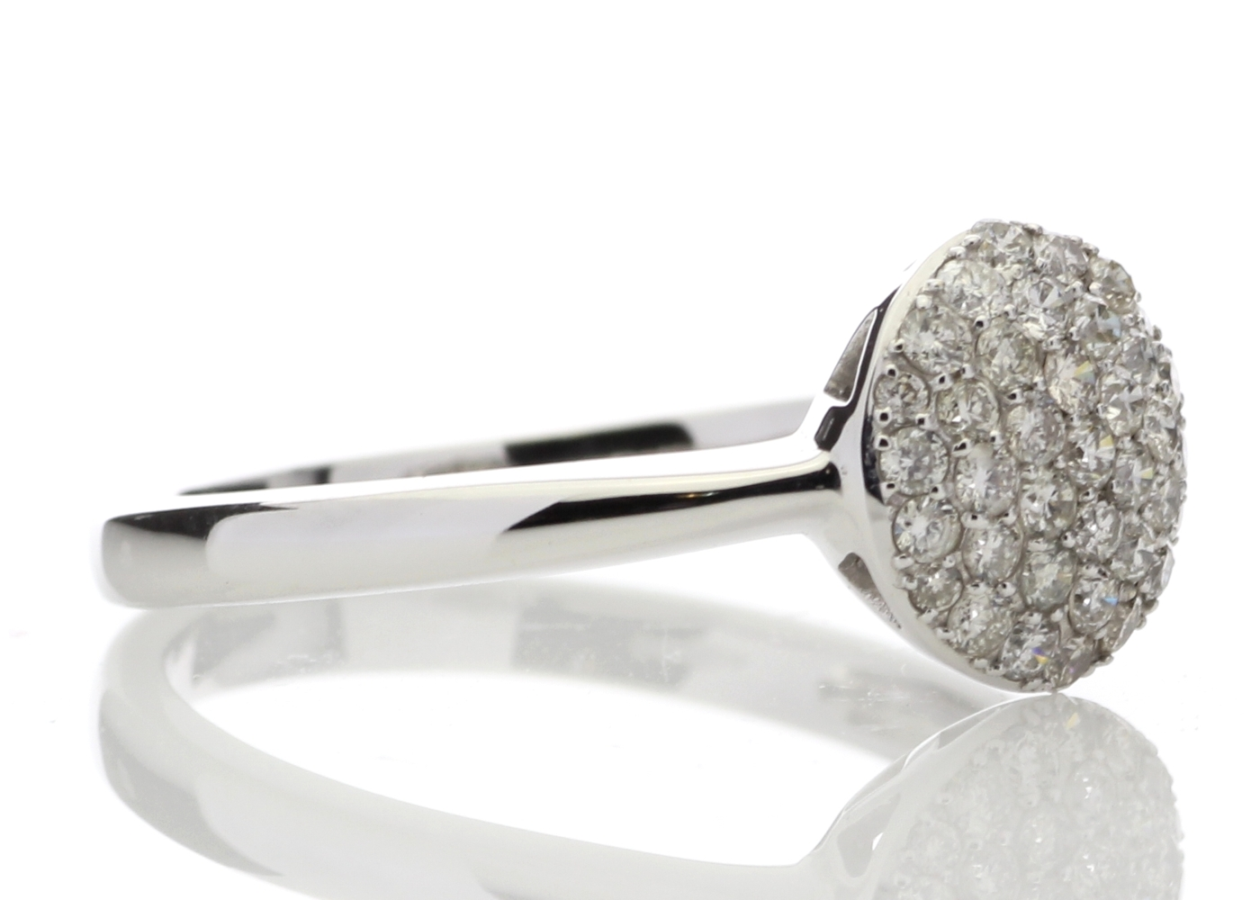 Lot 55 - 9ct White Gold Diamond Cluster Ring 0.51 Carats