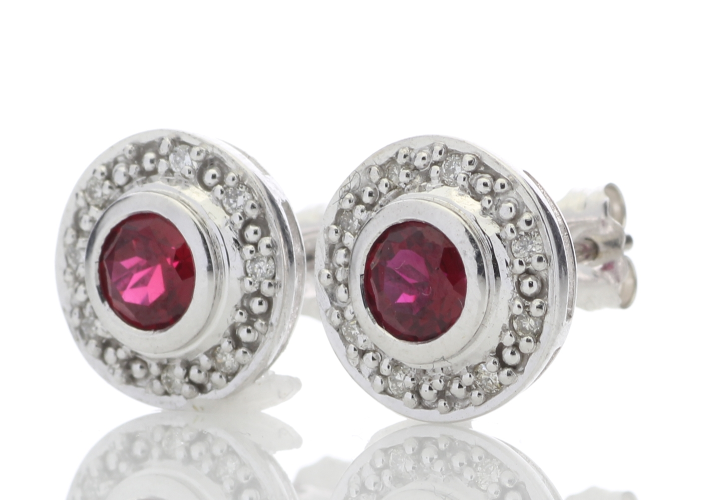 Lot 60 - 9ct White Gold Created Ruby Diamond Earring 0.16 Carats