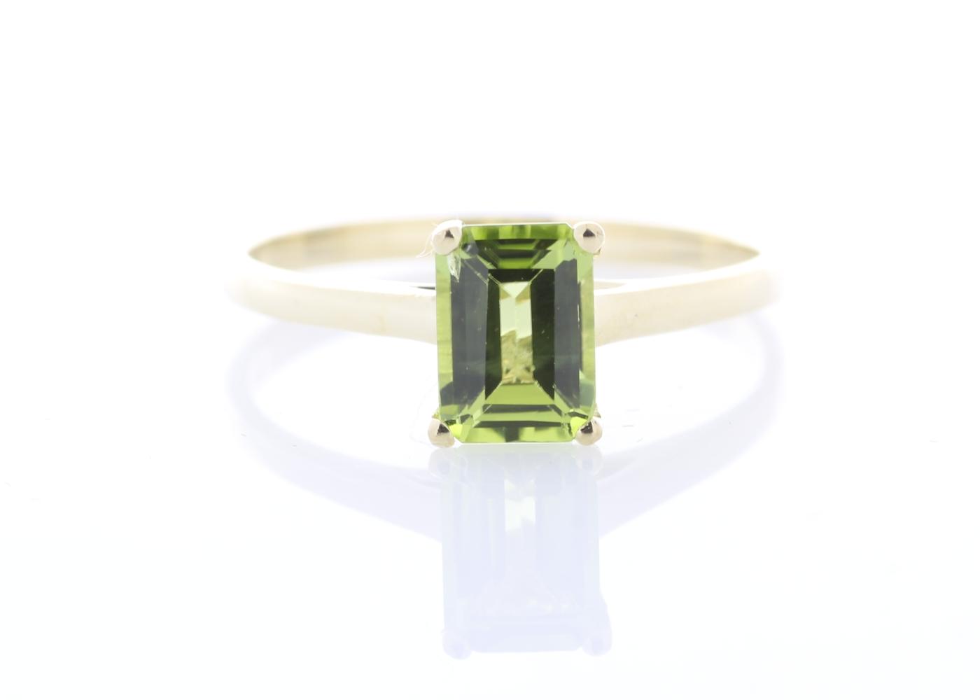 Lot 36 - 9ct Yellow Gold Single Stone Emerald Cut Peridot Ring 0.95 Carats
