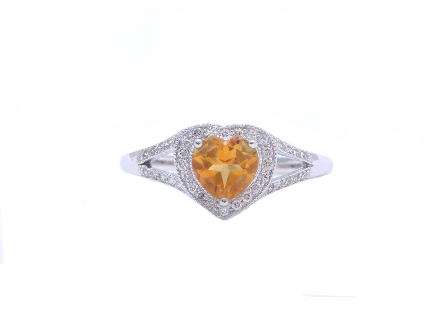 Lot 56 - 9ct White Gold Heart Shape Citrine Diamond Ring 0.20 Carats
