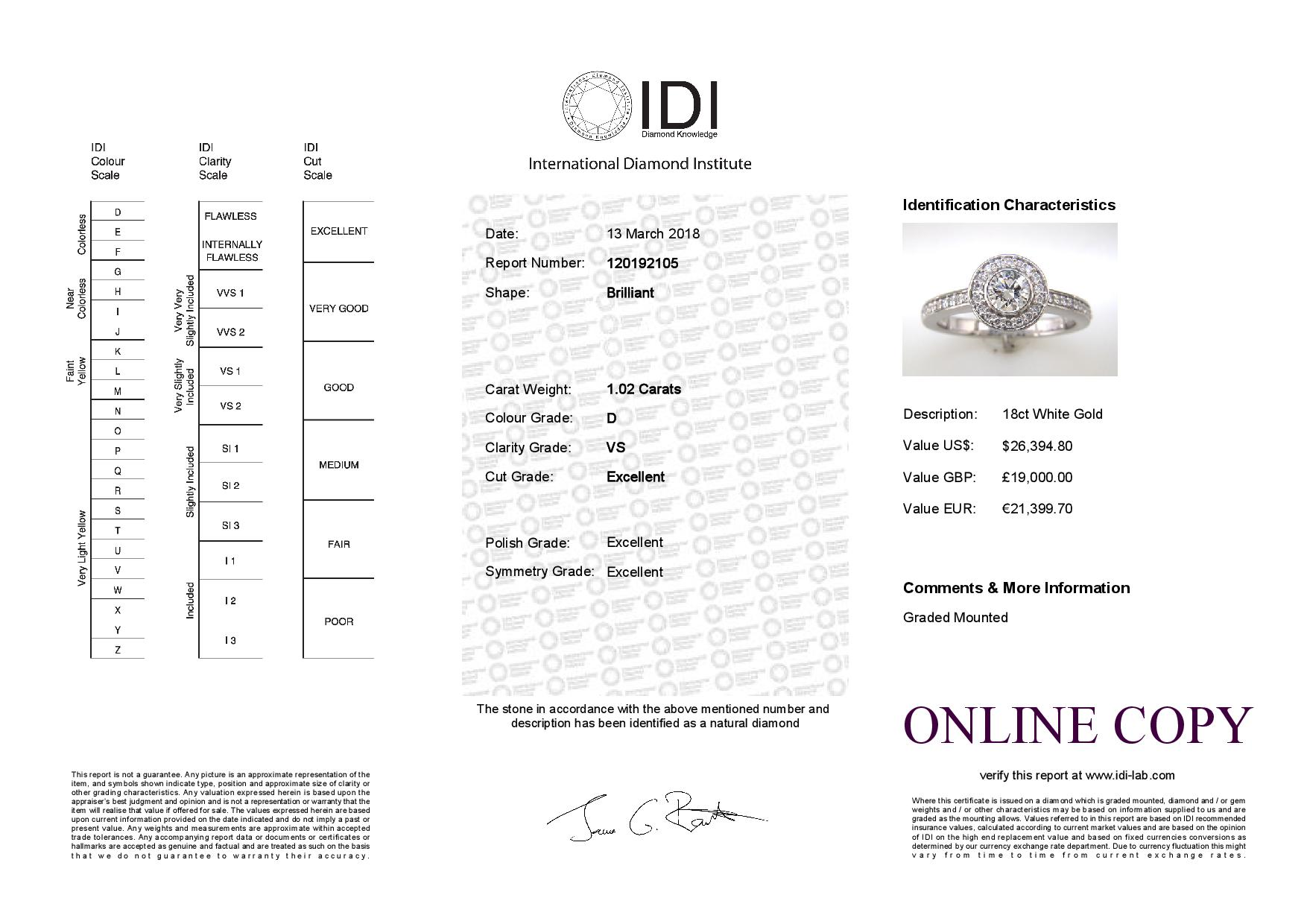 Lot 26 - 18ct White Gold Single Stone With Halo Setting Ring (0.50) 1.00 Carats
