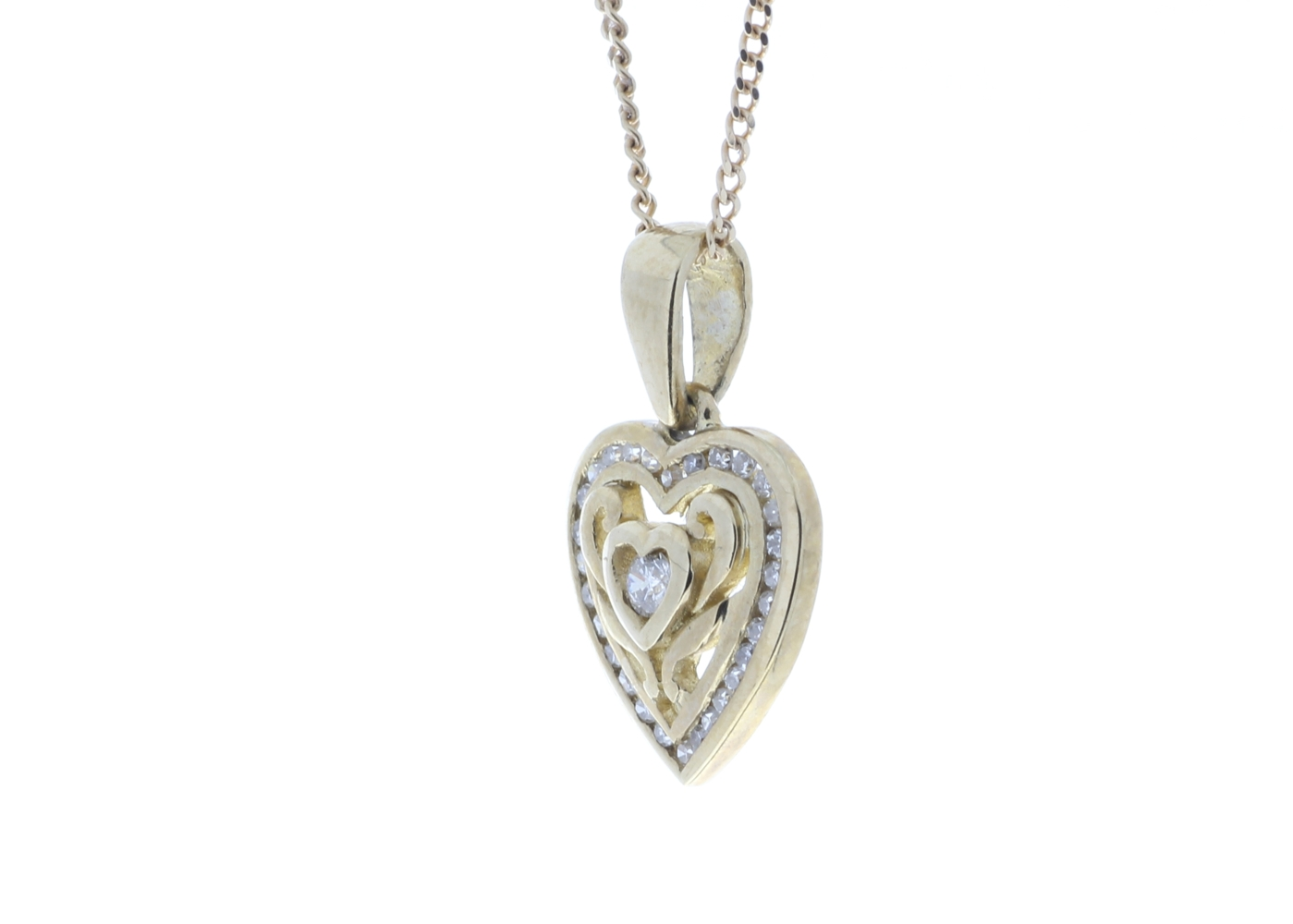 Lot 42 - 9ct Yellow Gold Heart Pendant Set With Diamonds With Centre Heart and Swirls 0.18 Carats