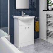 PALLET TO CONTAIN X 6 NEW & BOXED 550mm Quartz Basin Sink Vanity Unit Floor Standing White. RR...