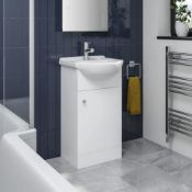 PALLET TO CONTAIN X 6 NEW & BOXED 410mm Quartz White Basin Vanity Unit- Floor Standing. RRP £2...