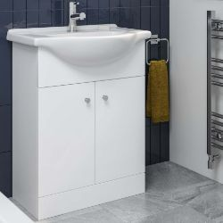 PALLET TO CONTAIN X 6 NEW & BOXED 650mm Quartz White Basin Vanity Unit- Floor Standing. RRP £3...