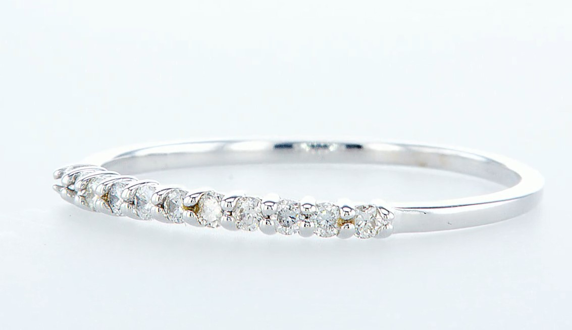 Lot 30 - 14 kt. White gold - Ring Diamond-0.22CTW