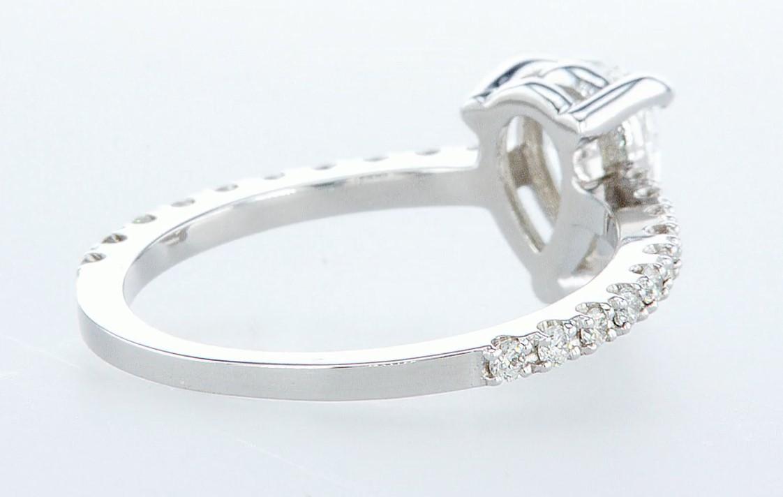 Lot 47 - 14 kt. White gold - Ring - 0.97 ct Diamond - Diamonds