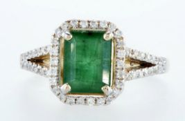 14 kt. White gold, Yellow gold - Ring - 2.01 ct Emerald - Diamonds