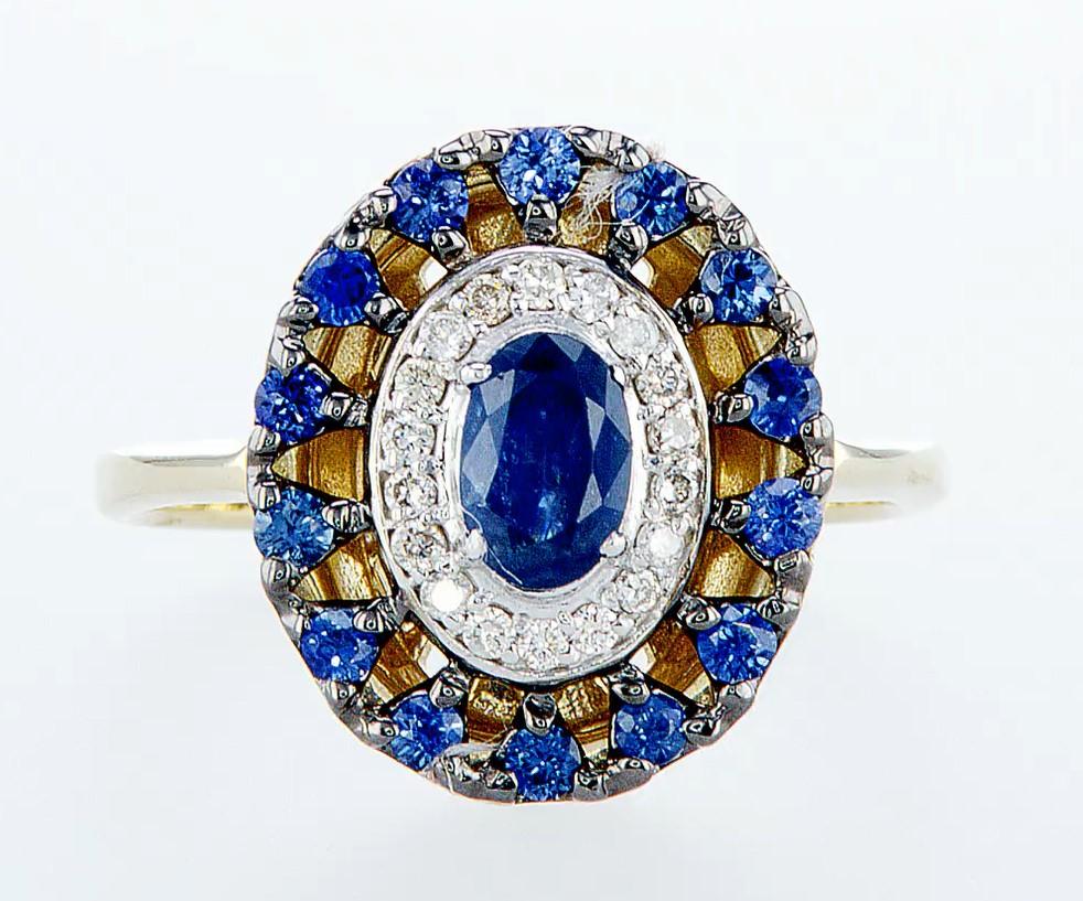 Lot 29 - 14 kt. White &Yellow gold - Ring - 1.25 ct Sapphire - Diamonds
