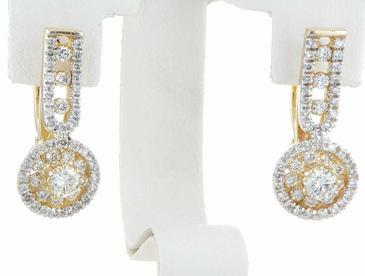 Lot 27 - 14 kt. White gold - Earrings - 1.46 ct Diamond - Diamonds