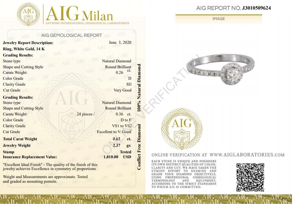 Lot 60 - 14 kt. White gold - Ring - 0.26 ct Diamond - Diamonds