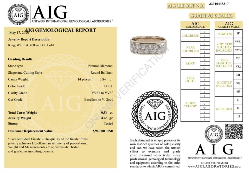 Lot 14 - 14 kt. White&Yellow gold - Ring Diamond-0.84CTW