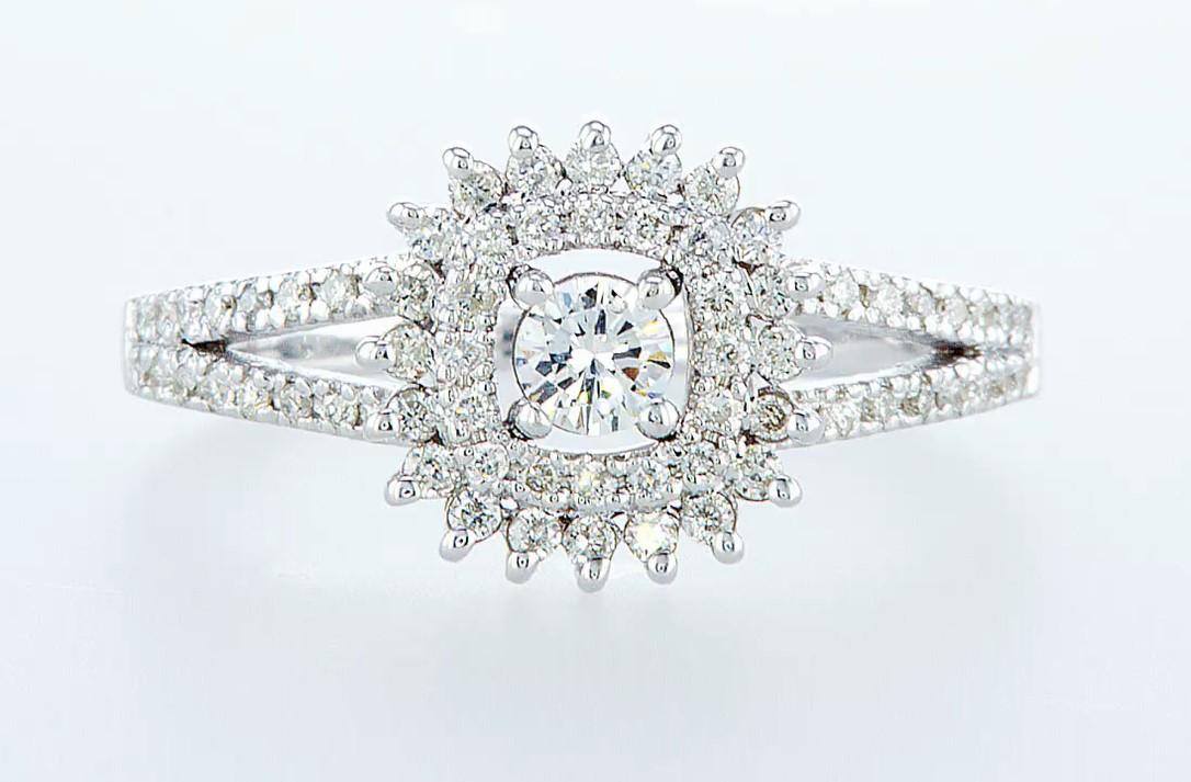 Lot 25 - 14 kt. White gold - Ring Diamond-0.71CTW