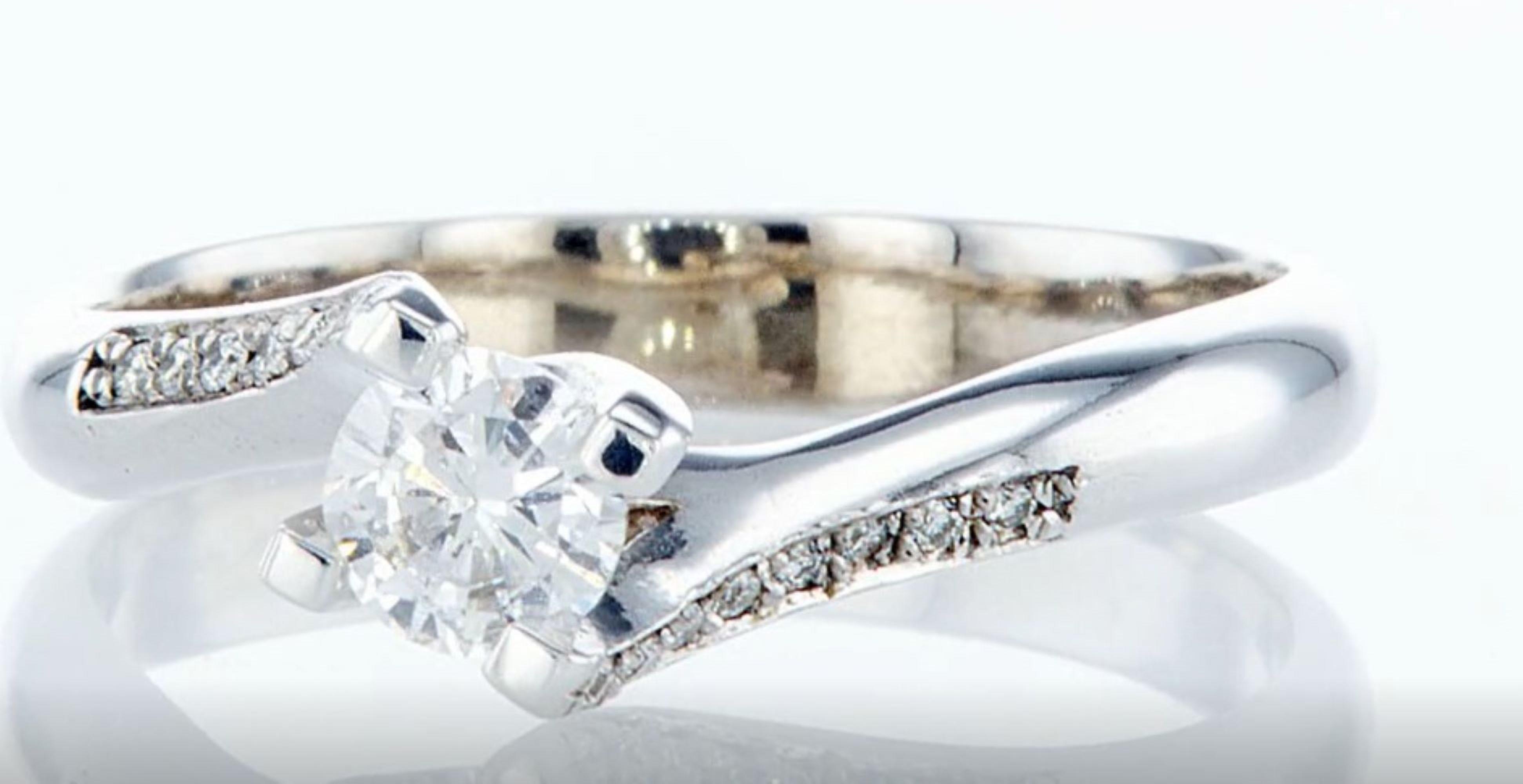 Lot 3 - 14 kt. White gold - Ring - 0.30 ct Diamond - Diamonds
