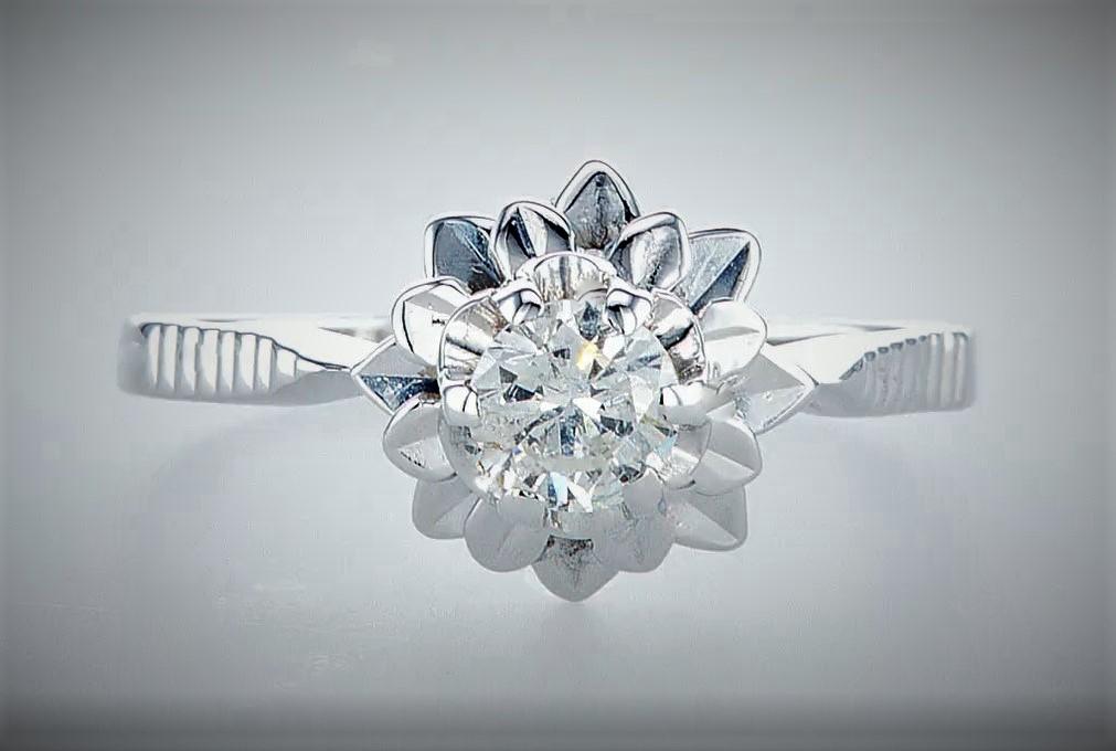 Lot 10 - 14 kt. White gold - Ring Diamond-0.45CTW