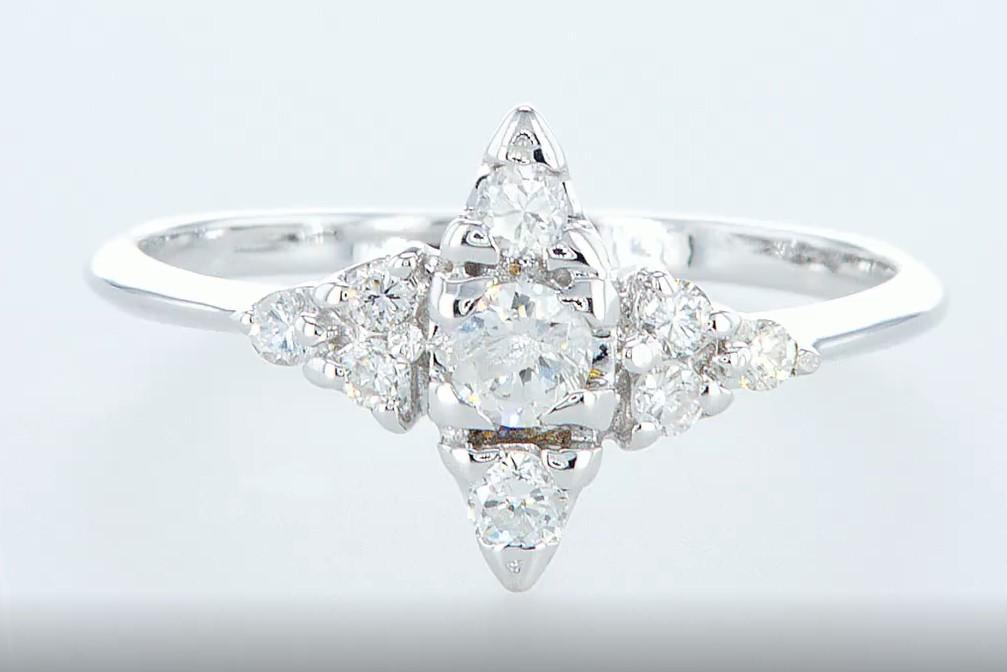 Lot 12 - 14 kt. White gold - Ring Diamond-0.42CTW