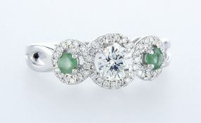 14 kt. White gold - Ring - 0.97 ct Emerald - Diamonds