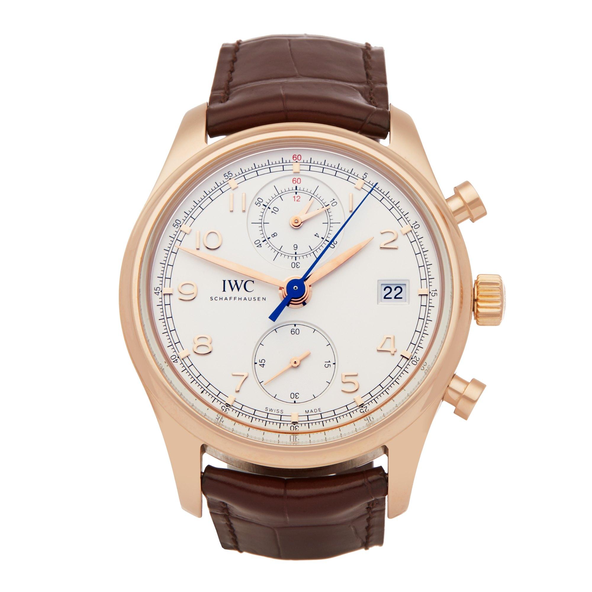Lot 11 - IWC Portuguese Classic IW390402 Men Rose Gold Chronograph Watch