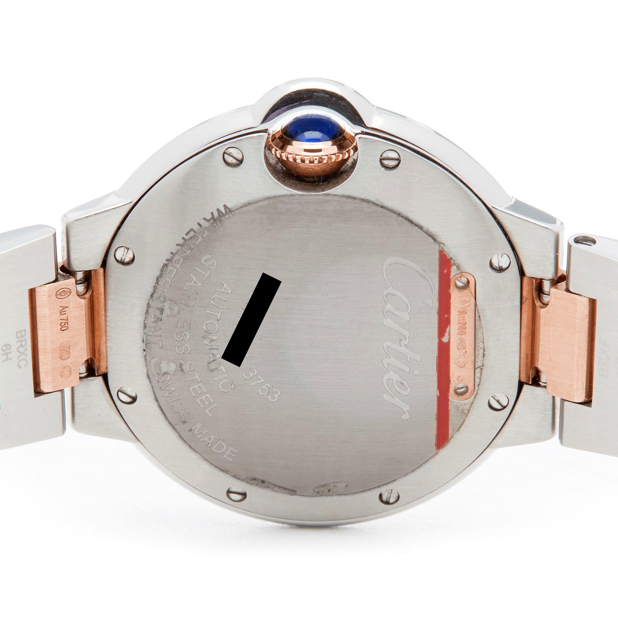 Lot 18 - Cartier Ballon Bleu 33 WE902077 or 3753 Ladies Stainless Steel & Rose Gold Diamond Watch