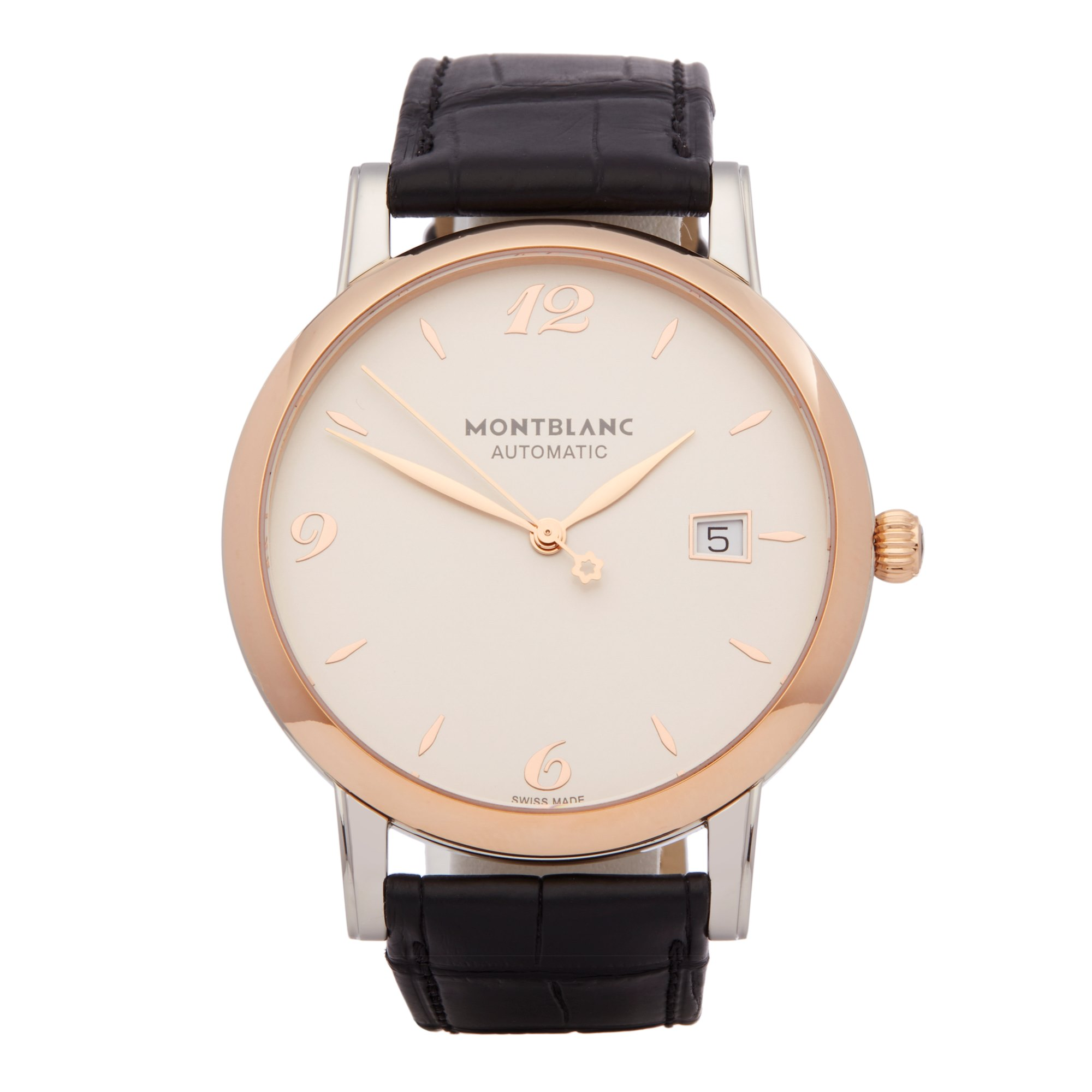 Lot 27 - Montblanc Star 112145 Men Stainless Steel & Rose Gold Classique Watch