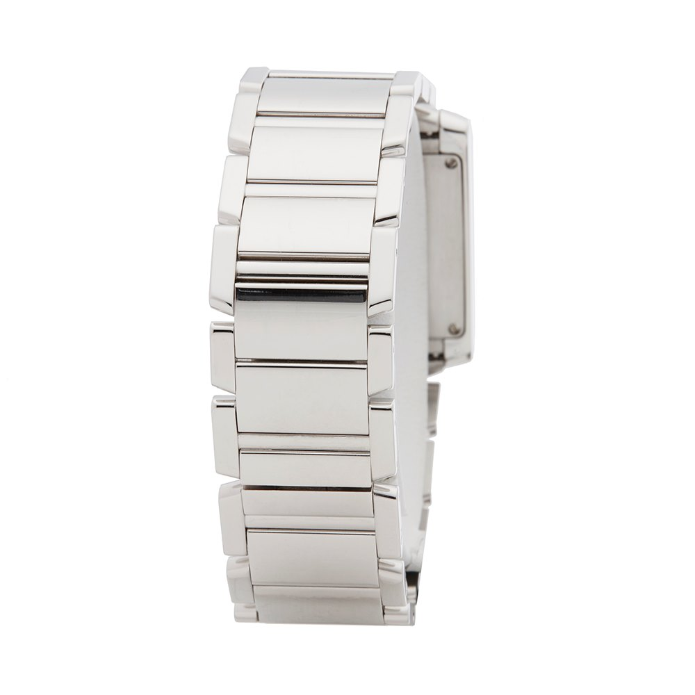 Lot 25 - Cartier Tank Francaise WE1009S3 or 2404MG Ladies White Gold Diamond Watch