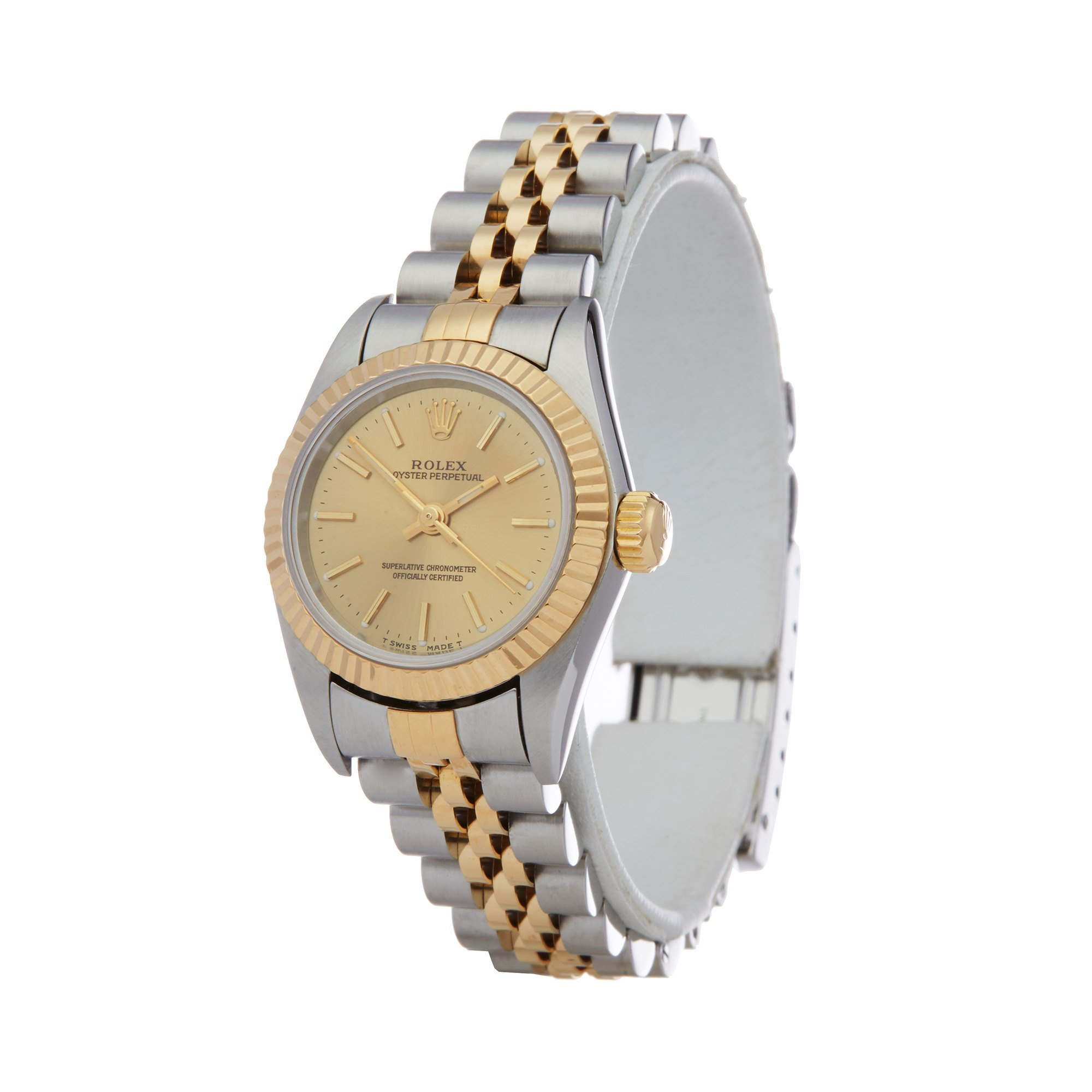 Lot 19 - Rolex Oyster Perpetual 26 67193 Ladies Stainless Steel & Yellow Gold Watch