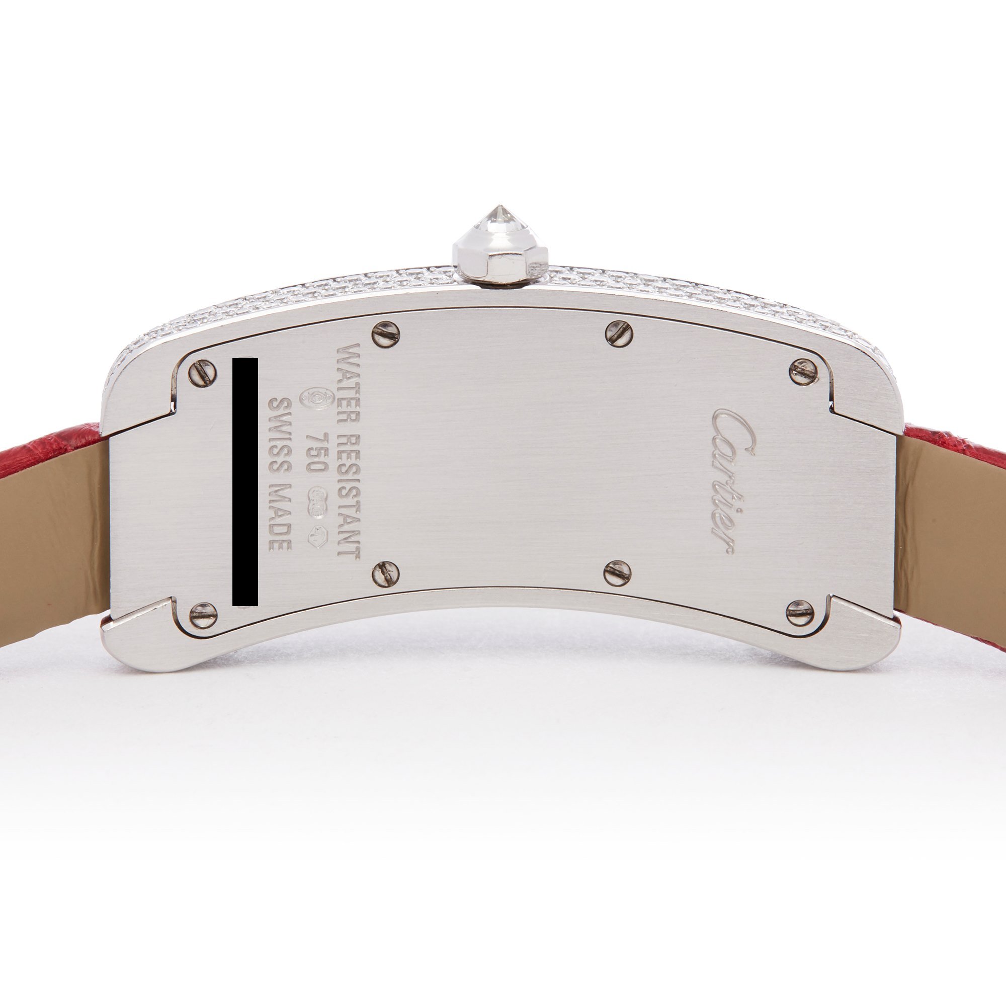Lot 26 - Cartier Tank Americaine WJ300950 or 2625 Ladies White Gold Curved Tank S Diamond Watch