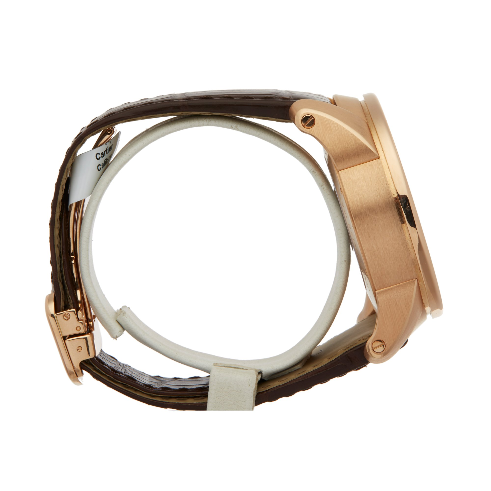 Lot 24 - Cartier Calibre W7100004 or 3242 Men Rose Gold Central Chronograph Watch