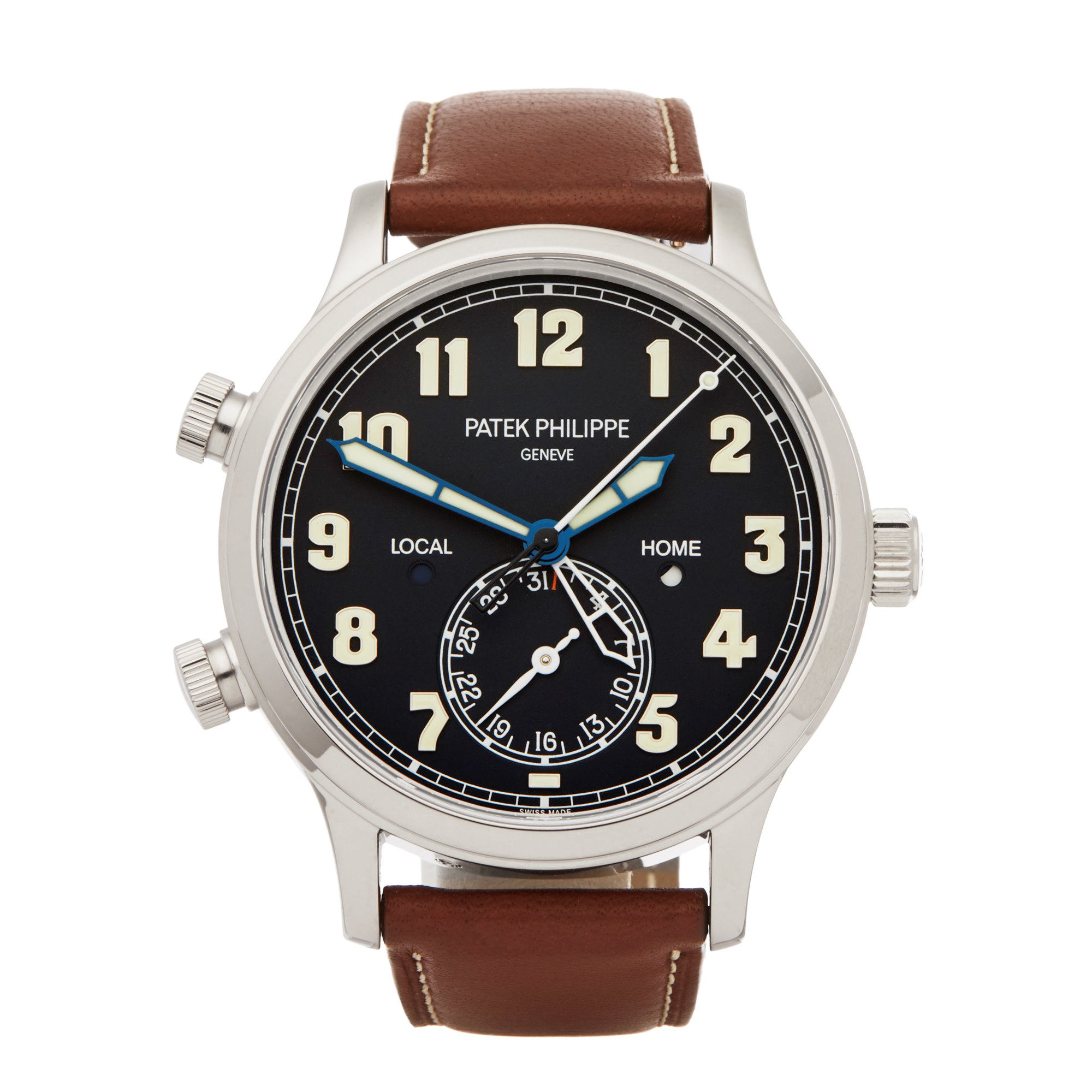 Lot 7 - Patek Philippe Calatrava Pilot Travel Time 5524G-001 Men White Gold Watch