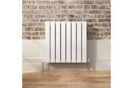 NEW & BOXED 600x600mm Gloss White Double Flat Panel Horizontal Radiator - Premium. RRP £349.9...