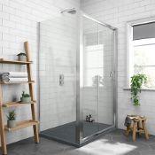NEW (NS20) 1000x800mm - 8mm - Sliding Door Shower Enclosure & 1000x800mm Black Slate Tray. RRP...