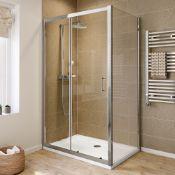 NEW (EX28) 1000x900mm - 6mm & 1000x900mm Slim Stone Shower Tray - Elements sliding door shower ...