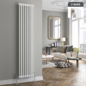 (H37) 2000x398mm White Double Panel Vertical Colosseum Traditional Radiator. RRP £328.99.Mad...