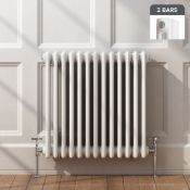 NEW 600x603mm White Double Panel Horizontal Colosseum Traditional Radiator. RRP £395.99.For e...
