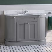 NEW & BOXED 1200mm York Earl Grey Marble Top Vanity Unit. RRP £3,499.Perfect storage solution...