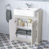 NEW & BOXED 667mm Cambridge Clotted Cream FloorStanding Sink Vanity Unit. RRP £749.99.Comes c...