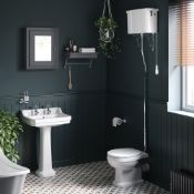 NEW (T2) Cambridge Traditional Toilet with High-Level Cistern - White Effect Seat. RRP £899....