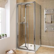 NEW & BOXED Twyfords 700x700mm - 8mm - Elements EasyClean Bi Fold Door Shower Enclosure.RRP £4...