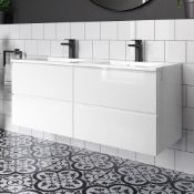 NEW & BOXED 1200mm Trevia High Gloss White Double Basin Cabinet - Wall Hung. RRP £1,999. MF83...