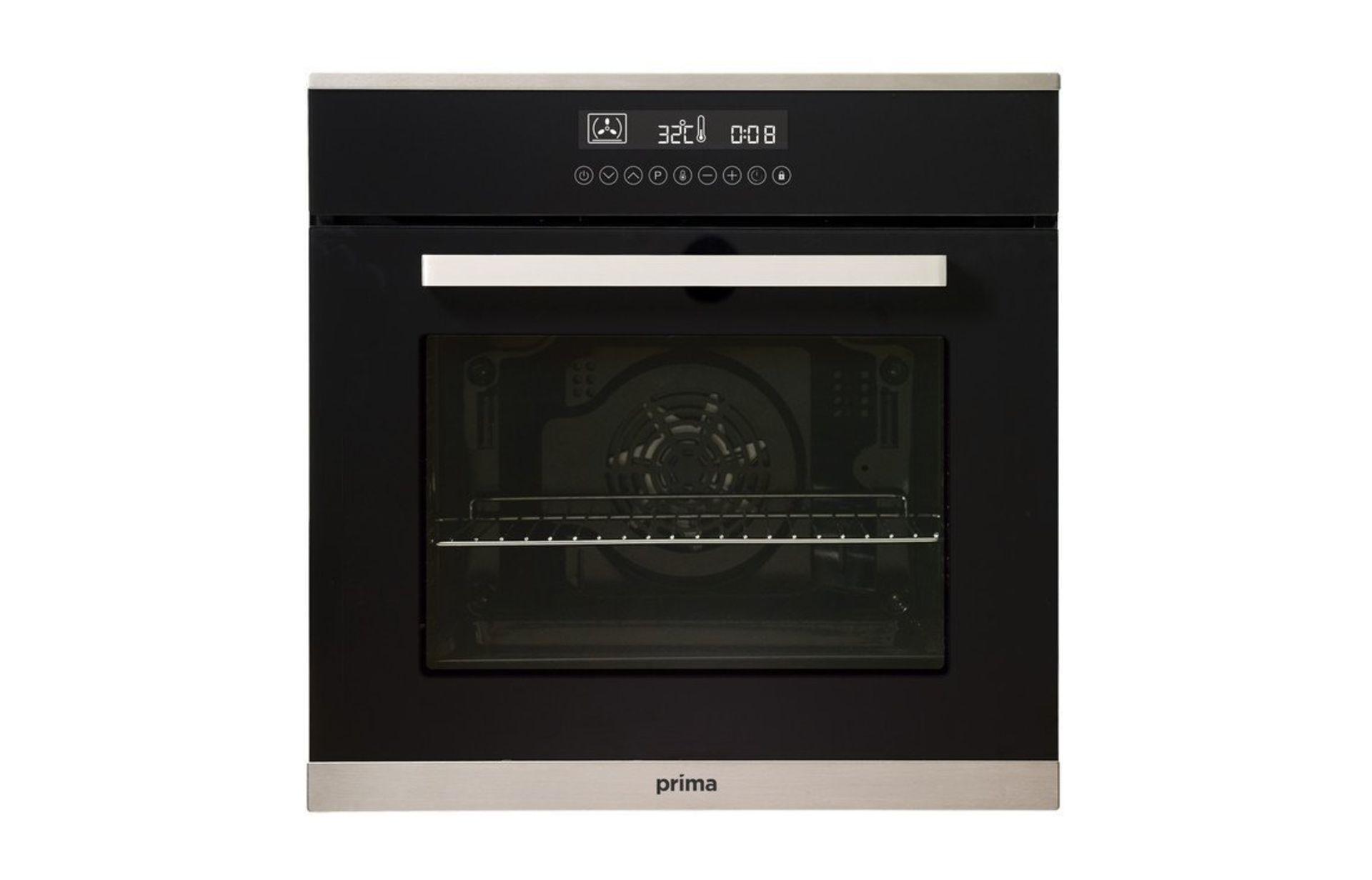 Lot 671 - (KA17) Prima+ PRSO108 B/I Single Electric Fan Oven - Black & St/Steel RRP £287.68. A Built I...