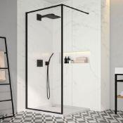 NEW (MF29) 1200mm -8mm- Designer Black Framed Wetroom Panel. The framed beauty that is the Merl...
